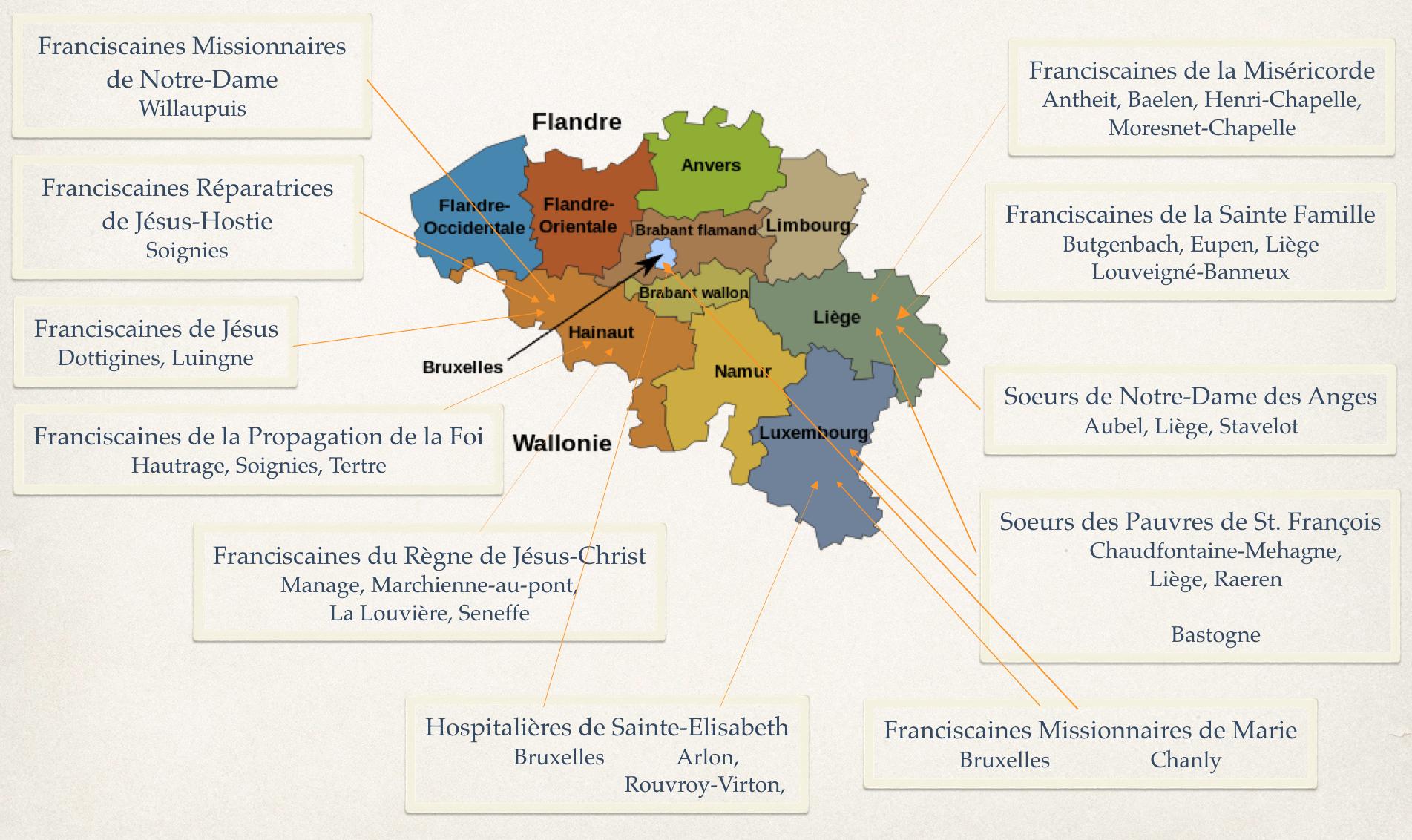 Carte présence soeurs franciscaines